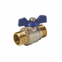 Line valve with butterfly handle closing ball M-M