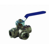 """3-way line valve """"L"""" function with H-H ball closing handle"""
